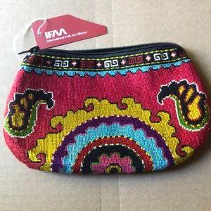 "Folk Art Jewelry/makeup Bag 8 x 6"""
